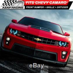 10-13 ZL1 PP Front Bumper Kit + Grille + Bumper Lip Diffuser Fits Chevy Camaro