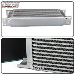 19 Row Fit For Universal Thermostat Adapter Engine Black Aluminum Oil Cooler Kit