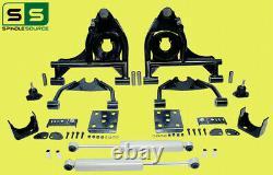 4/6 Drop Control Arm Kit + Shocks Fits 99-06 Chevy Silverado/GMC Sierra 1500