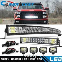 50 LED Light Bar Curved +20'' Lamp+ 4x Pods Kit For Chevy Silverado/GMC Sierra
