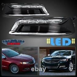 Fit 14-20 Chevy Impala Pair OE LED DRL Fog Light +Wiring+Switch Kit Clear Lens