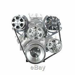 Fit Chevy SBC 350 Aluminum Serpentine Complete Engine Pulley & Components Kit