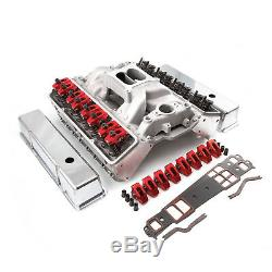 Fit Chevy SBC 350 Angle Plug Solid FT Cylinder Head Top End Engine Combo Kit