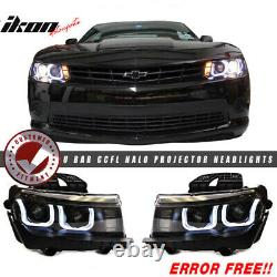 Fits 10-13 5TH to 6TH Gen Camaro ZL1 Front Bumper Cover + Black Headlights + DRL