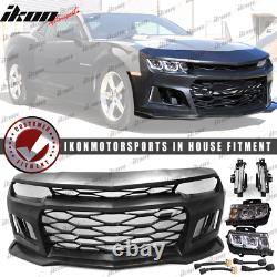 Fits 10-13 Camaro 5TH to 6TH Gen ZL1 Front Bumper Cover + Headlights + Foglight