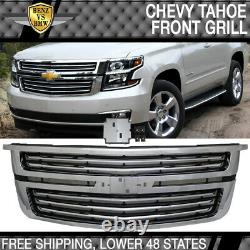 Fits 15-20 Chevy Tahoe LTZ Style Front Upper Factory Grill Grille Chrome
