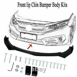 Front Bumper Lip Body Kit Spoiler Splitters Black + Strut Rods For Chevy Camaro