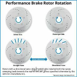 Front Rear Slotted Drilled Brake Rotors Ceramic Brake Pads Fits Chevy GMC Sierra