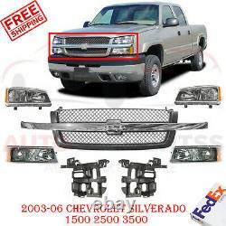 Grille & Headlight Kit + Brackets For 2003-06 Chevrolet Silverado 1500 2500 3500