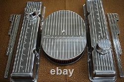 New Chevrolet Chevy 350 Finned Small Block Stock Height Billet Engine Dress Kit