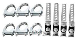 Stainless SteelDual Exhaust kit Fits 1998 Chevy k1500 k2500 Single Chamber