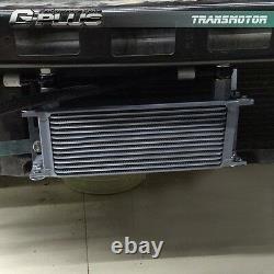 16 Row Engine Cooler Kit + Adaptateur De Plaque Sandwich Mâle Pour Ls1 Ls2 Ls3