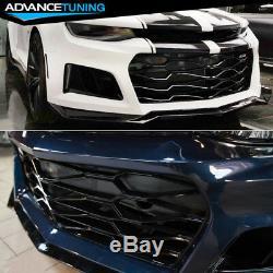 Convient 16-18 Chevrolet Camaro Zl1 Style Pare-chocs Noir Pp Avant Avec Lèvre & Grille