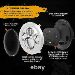 Dot 7 Pouces Round Led Phares Halo Pair Kit Hi/low Beam Pour Vw Beetle Classic