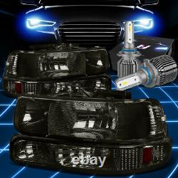 Fit 1999-2002 Chevy Silverado Tahoe Lampe Pare-chocs Phare Withled Kit+ Fan Fumé
