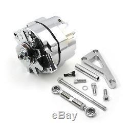 Fits Chevy Sbc 350 100 Amp 3 Support Fil D'aluminium Et De L'alternateur Lwp Kit Poli