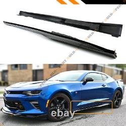 Pour 2016-2020 Chevy Camaro Lt Ss Rs Gloss Black Zl1 Style Side Extension Jupe