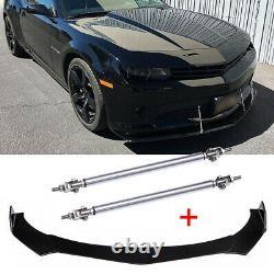 Pour Chevy Camaro Chevrolet 15-20 Front Bumper Lip Spoiler Splitter + Strut Rods